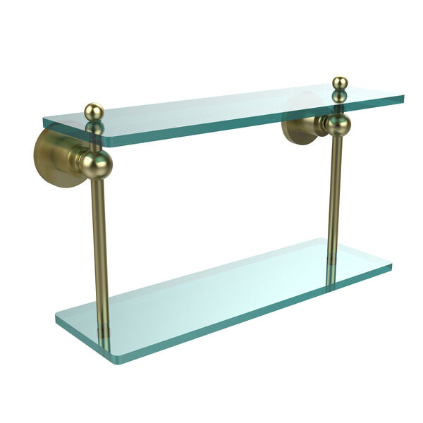 Satin Brass 16-Inch Double Glass Shelf , image 1