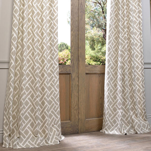 Martinique Taupe 84 x 50-Inch Printed Cotton Curtain Single Panel, image 6