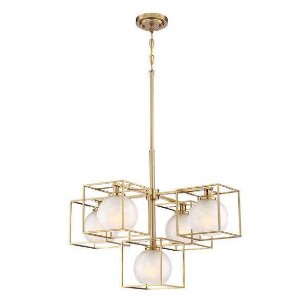 Cowen Brushed Gold Five-Light Chandelier, image 1