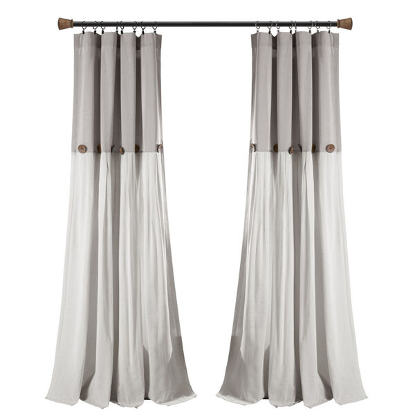 Linen Button Gray and White 40 x 108 In. Single Window Curtain Panel, image 5