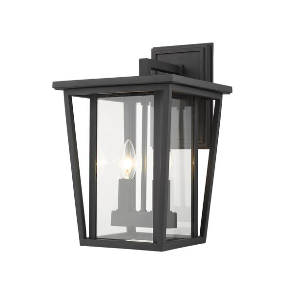 Seoul Black Two-Light Outdoor Wall Sconce With Transparent Glass - (Open Box), image 1