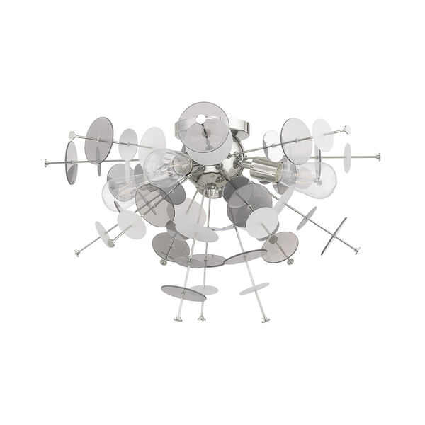Circulo Polished Chrome 24-Inch Four-Light Ceiling Mount with Chrome Discs and Glass Discs, image 3