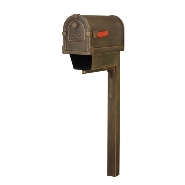 Savannah Curbside Copper Mailbox with Newspaper Tube and Wellington Mailbox Post, image 1