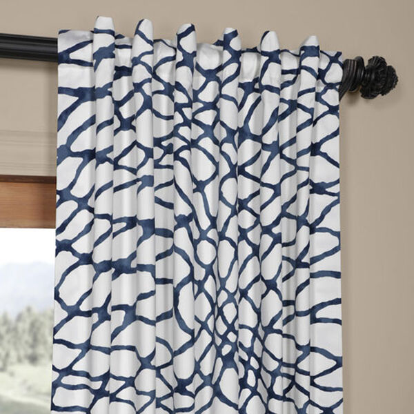 Ocean Blue 120 x 50 In. Printed Cotton Twill Curtain Single Panel, image 4