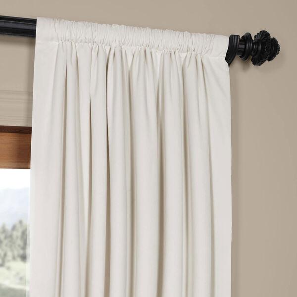 Porcelain White Blackout Velvet Pole Pocket Single Panel Curtain, 50 X 96, image 3