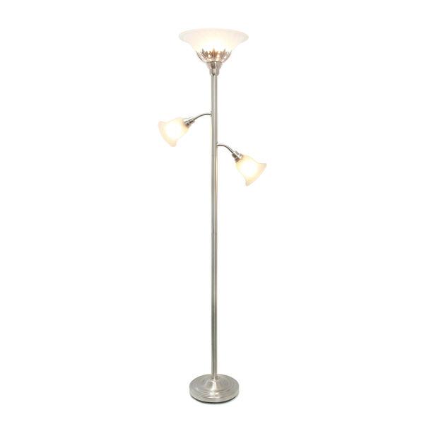 Quince Brushed Nickel White Shade Three-Light Floor Lamp, image 2
