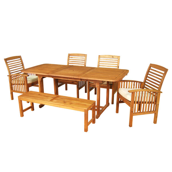 6-Piece Brown Acacia Patio Dining Set with Cushions, image 2