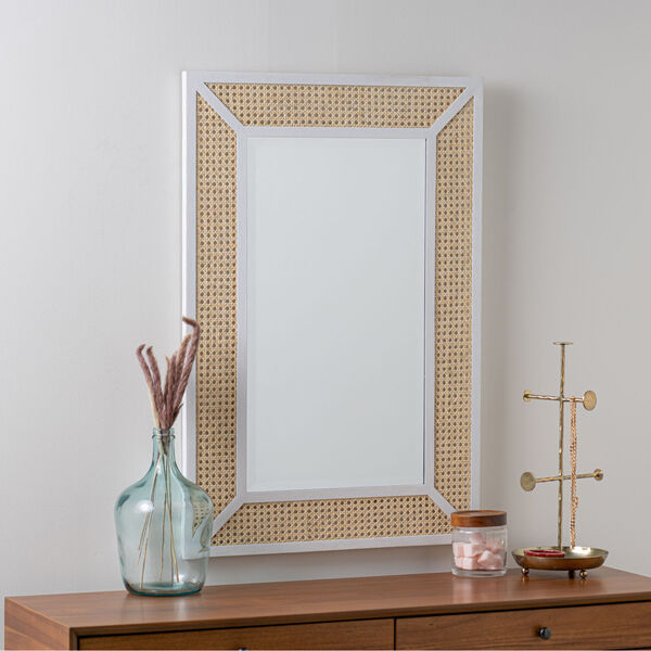 Dani Cane and White Wood 36-Inch x 24-Inch Wall Mirror, image 1