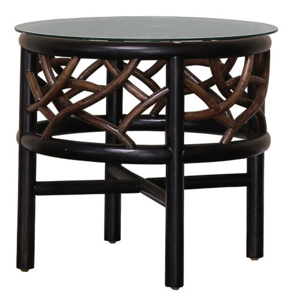 Trinidad Natural Indoor End Table with Glass, image 2