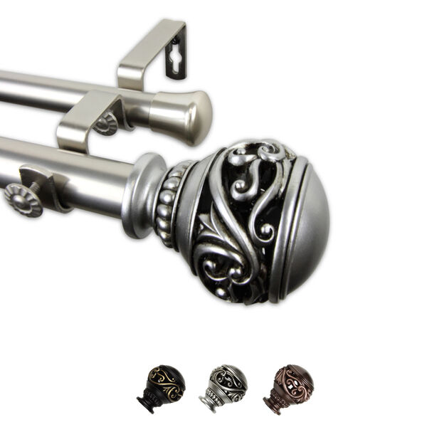 Isabella Satin Nickel 170-Inch Double Curtain Rod, image 1