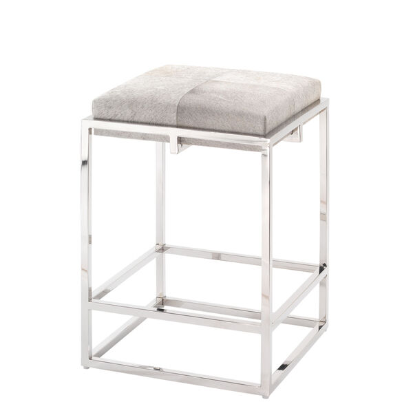 Shelby Grey Hide and Nickel Metal Counter Stool, image 1