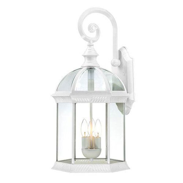 Boxwood White Finish Three Light Outdoor Wall Sconce with Clear Beveled Glass, image 1