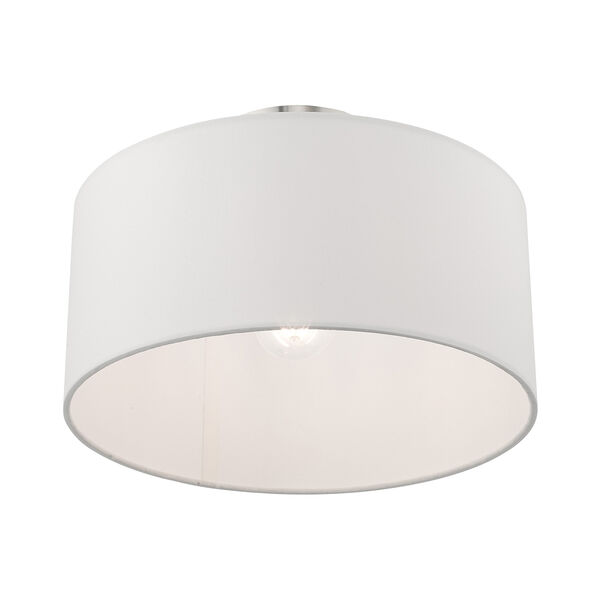 Clark Brushed Nickel 13-Inch One-Light Ceiling Mount with Hand Crafted Off-White Hardback Shade, image 4