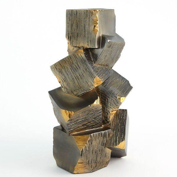 Black and Gold 12-Inch Faux Pyrite Vase, image 5