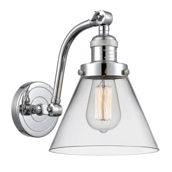 Franklin Restoration Polished Chrome Eight-Inch One-Light Wall Sconce with Clear Large Cone Shade, image 1
