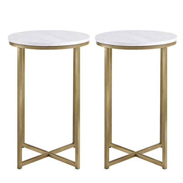 Alissa Faux White Marble and Gold Metal X-Leg Side Table, Set of Two, image 3