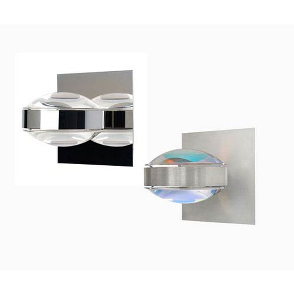 Optos Brushed Aluminum One-Light LED Wall Sconce with Clear and Warm Dicro Lenses, image 3