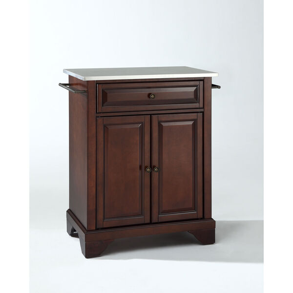 LaFayette Stainless Steel Top Portable Kitchen Island in Vintage Mahogany Finish, image 1
