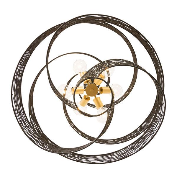 Flow Matte Black French Gold 30-Inch Six-Light Chandelier, image 4