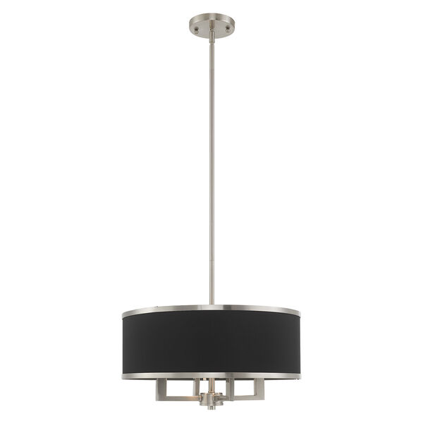 Park Ridge Brushed Nickel 18-Inch Four-Light Pendant Chandelier with Hand Crafted Black Hardback Shade, image 1