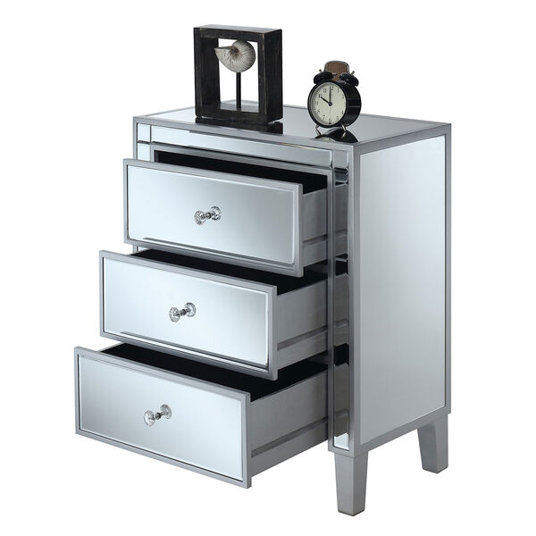 Gold Coast Large 3 Drawer Mirrored End Table in Silver, image 2