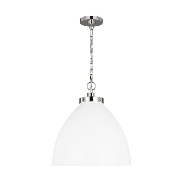 Wellfleet Matte White and Silver 18-Inch One-Light Pendant, image 1