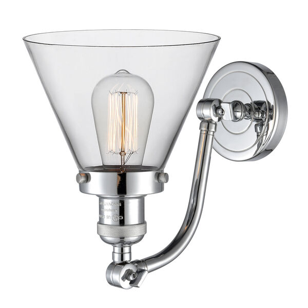 Franklin Restoration Polished Chrome Eight-Inch One-Light Wall Sconce with Clear Large Cone Shade, image 2