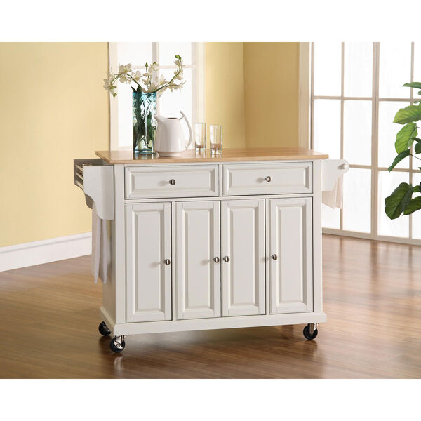Natural Wood Top Kitchen Cart/Island in White Finish, image 3