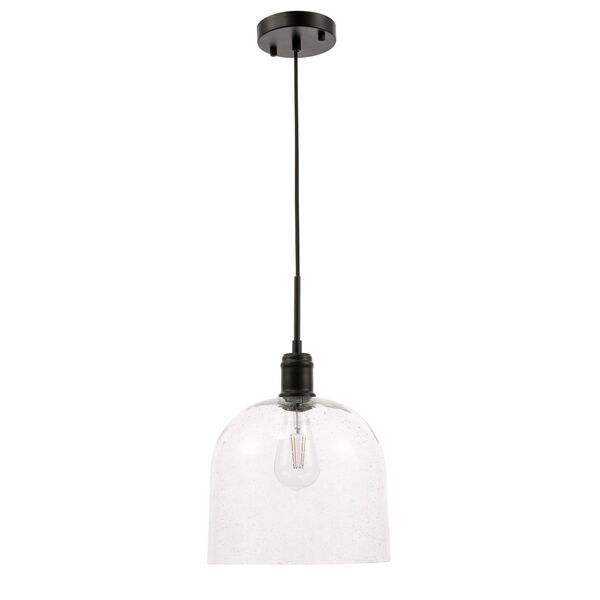 Gabe Black 10-Inch One-Light Pendant with Clear Seeded Glass, image 3