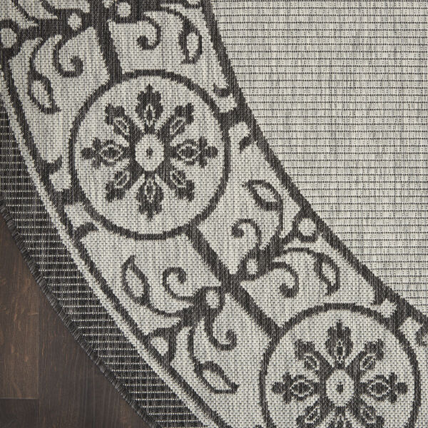 Garden Party Gray and Charcoal 5 Ft. 3 In. x 5 Ft. 3 In. Round Indoor/Outdoor Area Rug, image 4