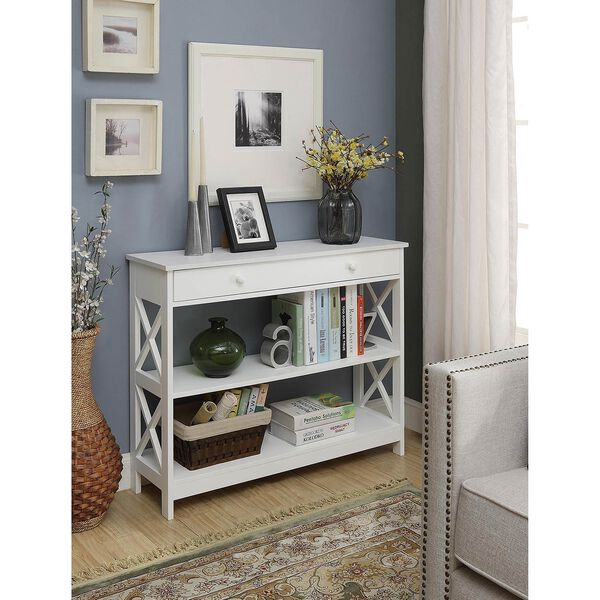 Oxford 1 Drawer Console Table, White, image 1