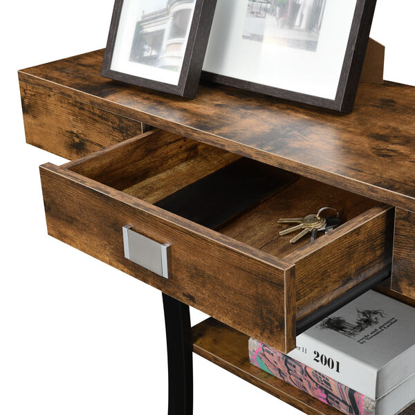 Newport Harri Barnwood and Black One Drawer Console Table with Shelves, image 4