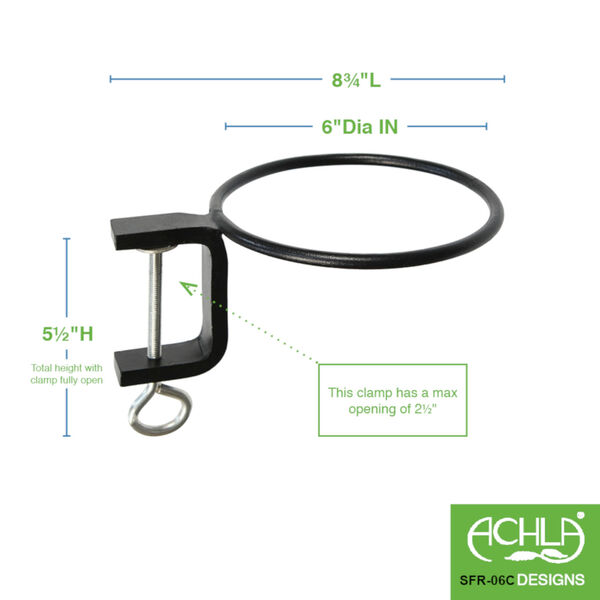 Black Powdercoat 6-Inch Clamp-on Flower Pot Ring, Set of Two, image 2