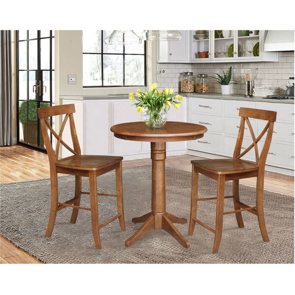 Distressed Oak 30-Inch Round Pedestal Gathering Table with Two X-Back Counter Height Stool, Set of Three, image 1