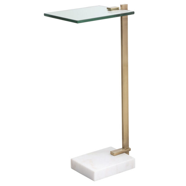 Butler Brushed Brass and White Accent Table, image 1