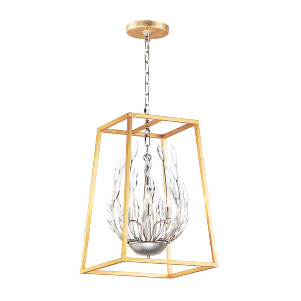 Bouquet Polished Nickel and Gold Leaf Four-Light Pendant, image 1