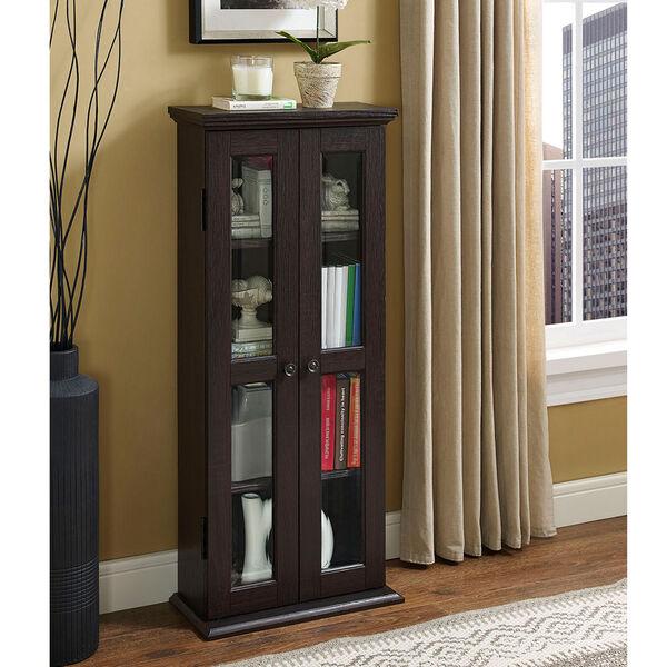 41-inch Espresso Wood Media Tower Cabinet, image 1