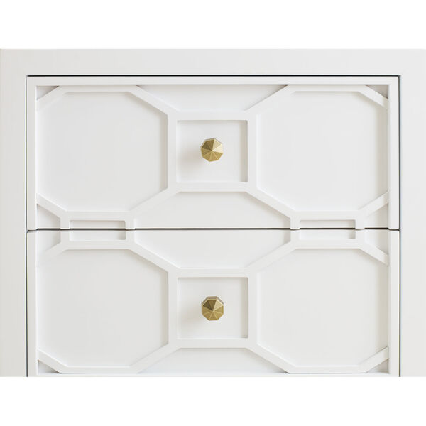 Chelsea by Rachael Ray White with Gold Accents Kids Nightstand with Decorative Lattice, image 3