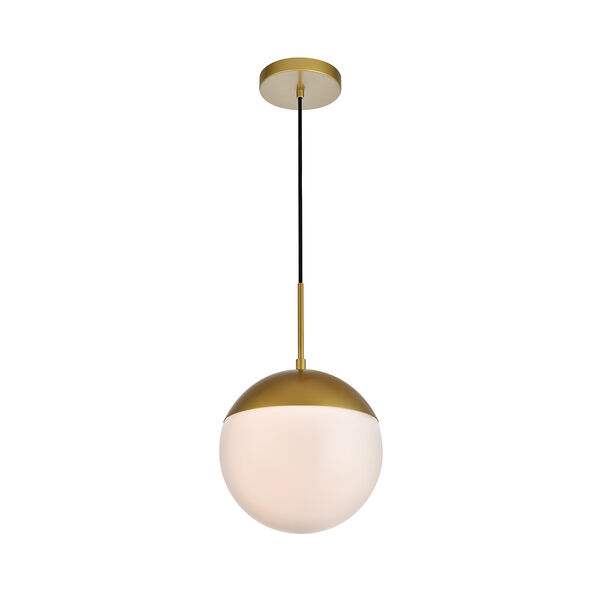Eclipse Brass and Frosted White 10-Inch One-Light Pendant, image 3