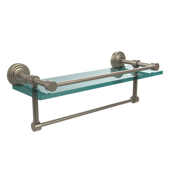 16 Inch Gallery Glass Shelf with Towel Bar, Antique Pewter, image 1