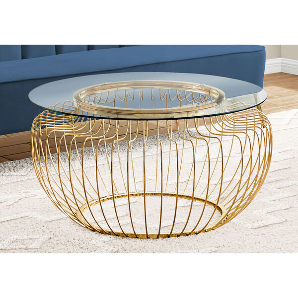 Gold Coffee Table with Tempered Glass, image 3
