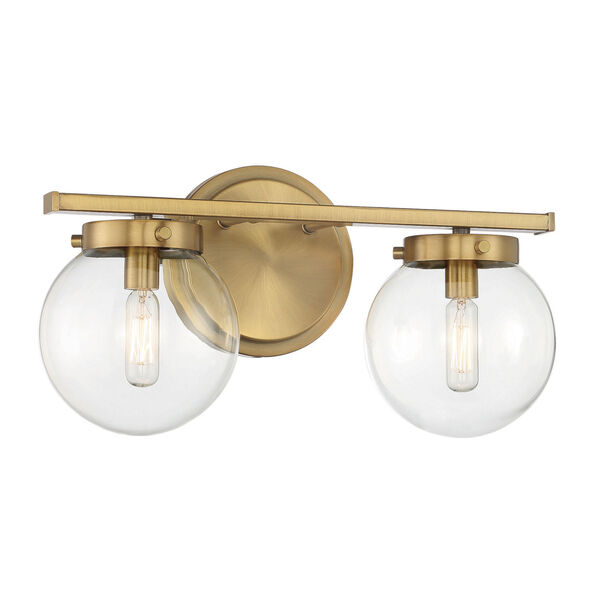 Cora Natural Brass Two-Light Bath Vanity with Clear Glass, image 3