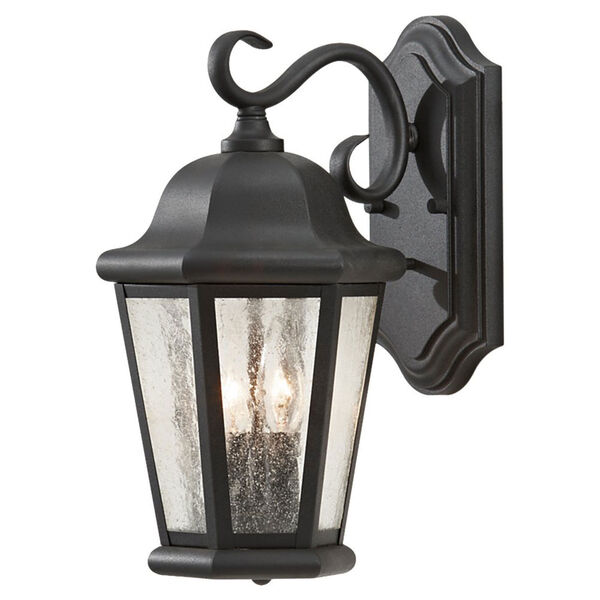 Martinsville Black Outdoor Wall Lantern Light - Width 8 Inches, image 1
