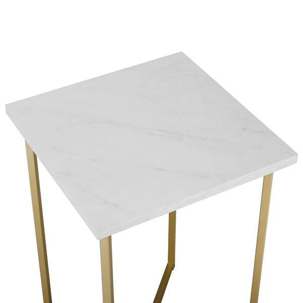 Faux White Marble and Gold Wood Square Side Table, Set of Two, image 4