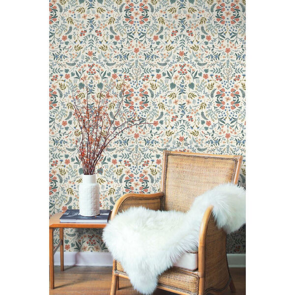Rifle Paper Co. Beige and Coral Wildwood Wallpaper, image 3