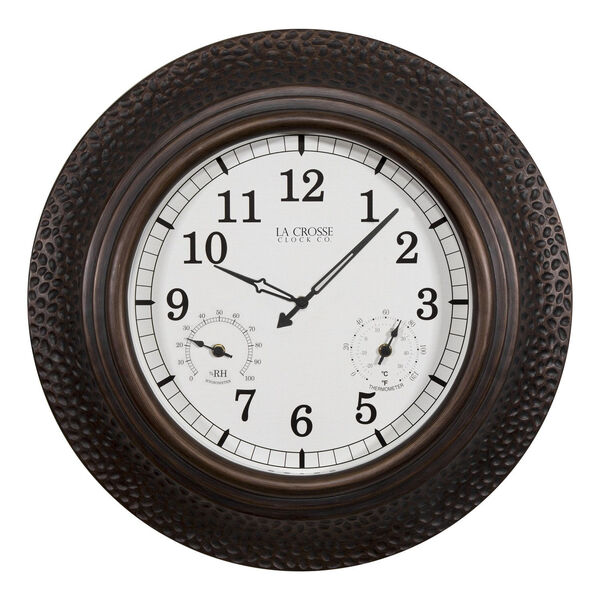 Oil Rubbed Bronze Poly Resin Outdoor Wall Clock, image 1