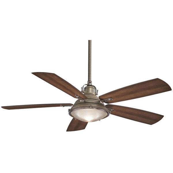 Groton Weathered Aluminium and Dark Pine 56-Inch LED Outdoor Ceiling Fan, image 1