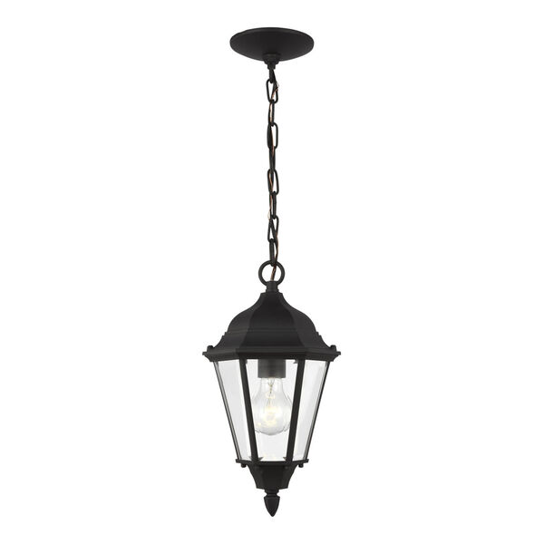 Bakersville Black One-Light Outdoor Pendant with Satin Etched Shade, image 1