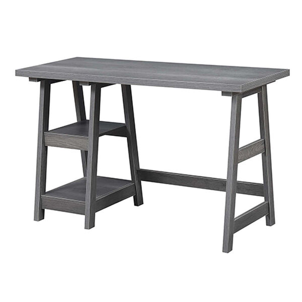 Designs2Go Charcoal Gray Trestle Desk, image 6