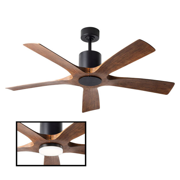 Aviator Matte Black and Distressed Koa 54-Inch ADA LED Ceiling Fan, image 3